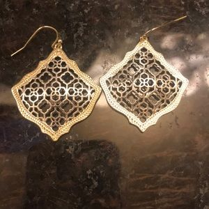 Kendra Scott silver and gold earrings